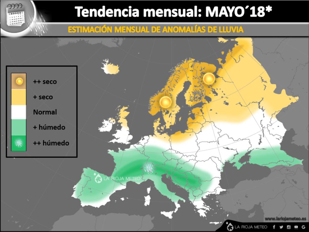 Tendencia pluviométrica en Europa para el mes de Mayo´18. Ilustración: La Rioja Meteo