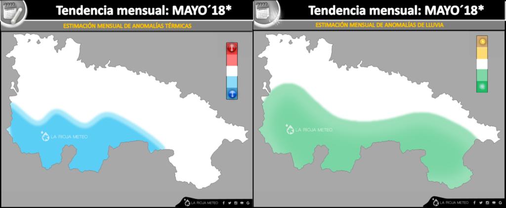 Tendencia térmica y pluviométrica para el mes de Mayo 2018 en La Rioja.