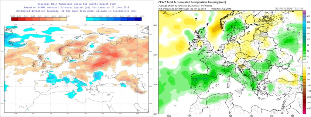 Estimación pluviométrica para el mes de Agosto´18 por el modelo ECMWF (izda) y el CFS (dcha)