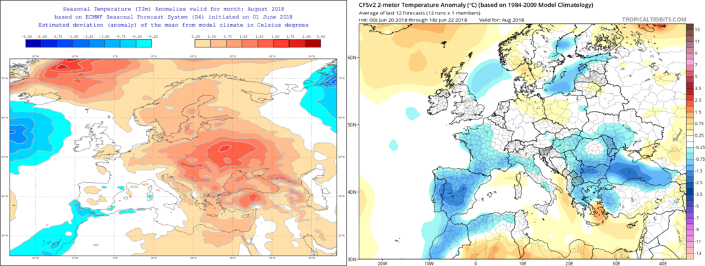 Estimación térmica para el mes de Agosto´18 por el modelo ECMWF (izda) y el CFS (dcha)