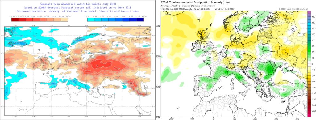 Estimación pluviométrica para el mes de Julio´18 por el modelo ECMWF (izda) y el CFS (dcha)