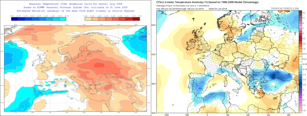 Estimación térmica para el mes de Julio´18 por el modelo ECMWF (izda) y el CFS (dcha)