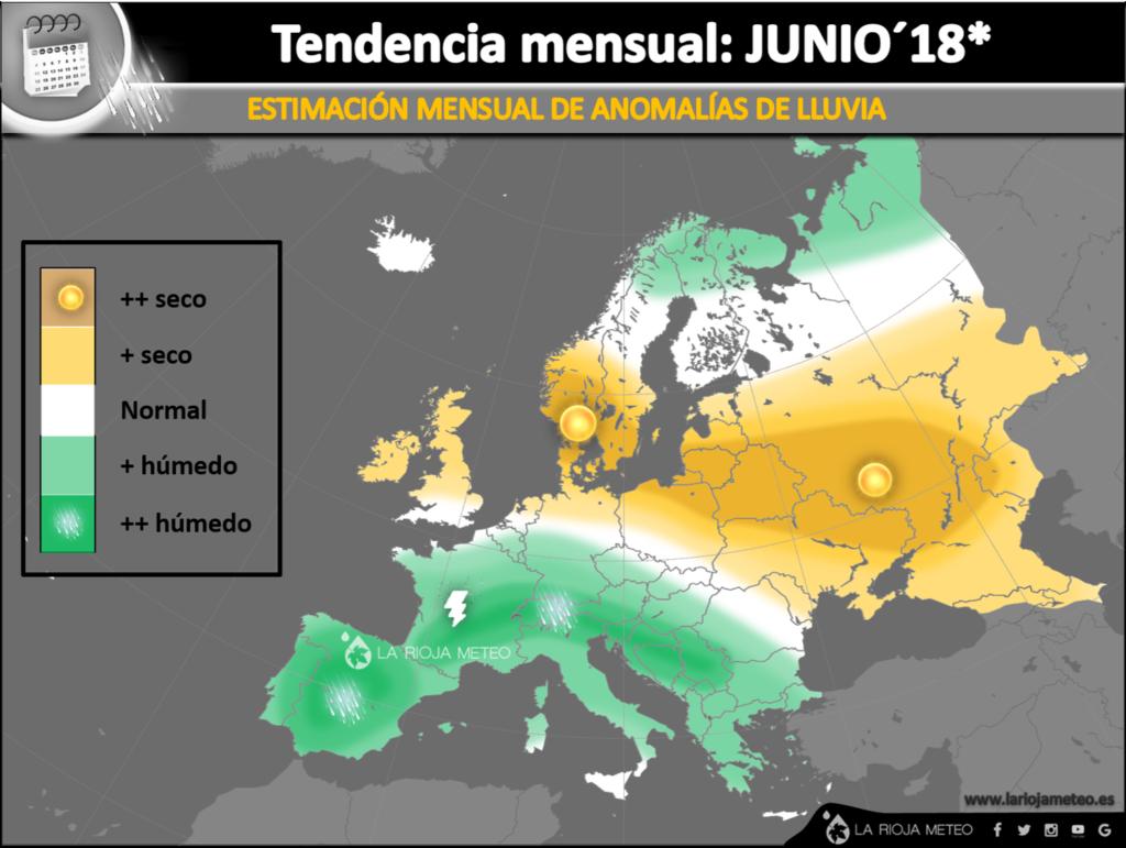 Anomalías de lluvia estimadas en Europa durante Junio 2018
