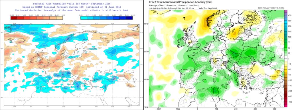 Estimación pluviométrica para el mes de Septiembre´18 por el modelo ECMWF (izda) y el CFS (dcha)