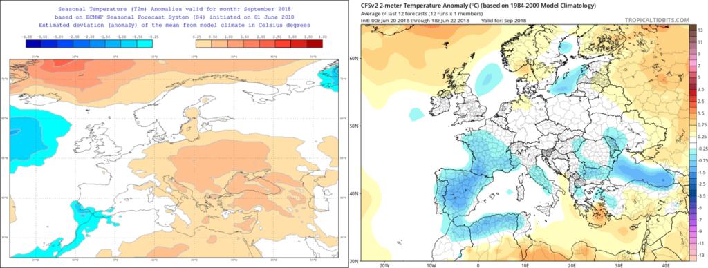 Estimación térmica para el mes de Septiembre´18 por el modelo ECMWF (izda) y el CFS (dcha)