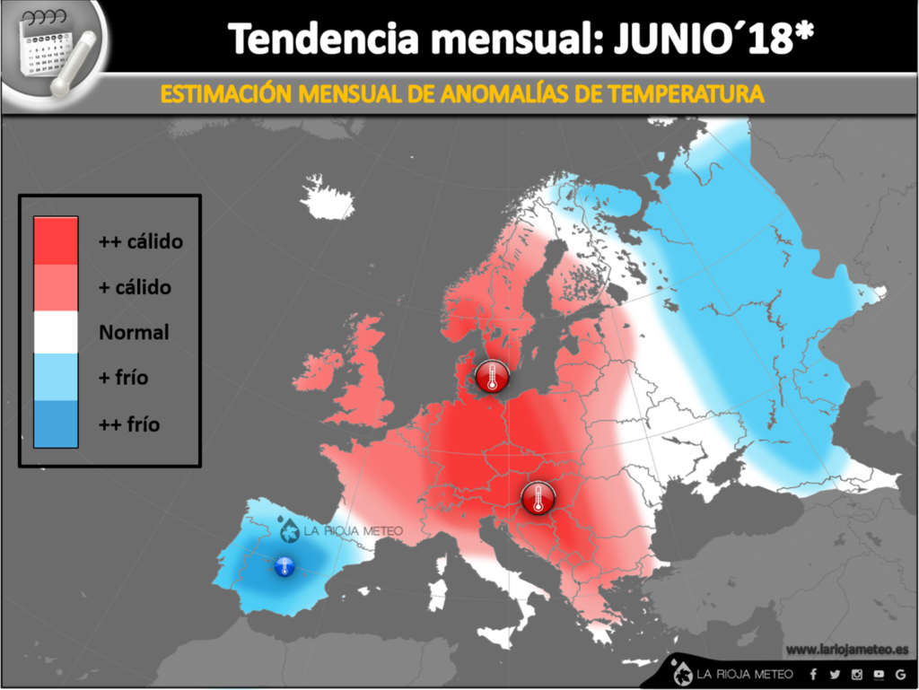 Anomalías térmicas estimadas en Europa durante Junio 2018