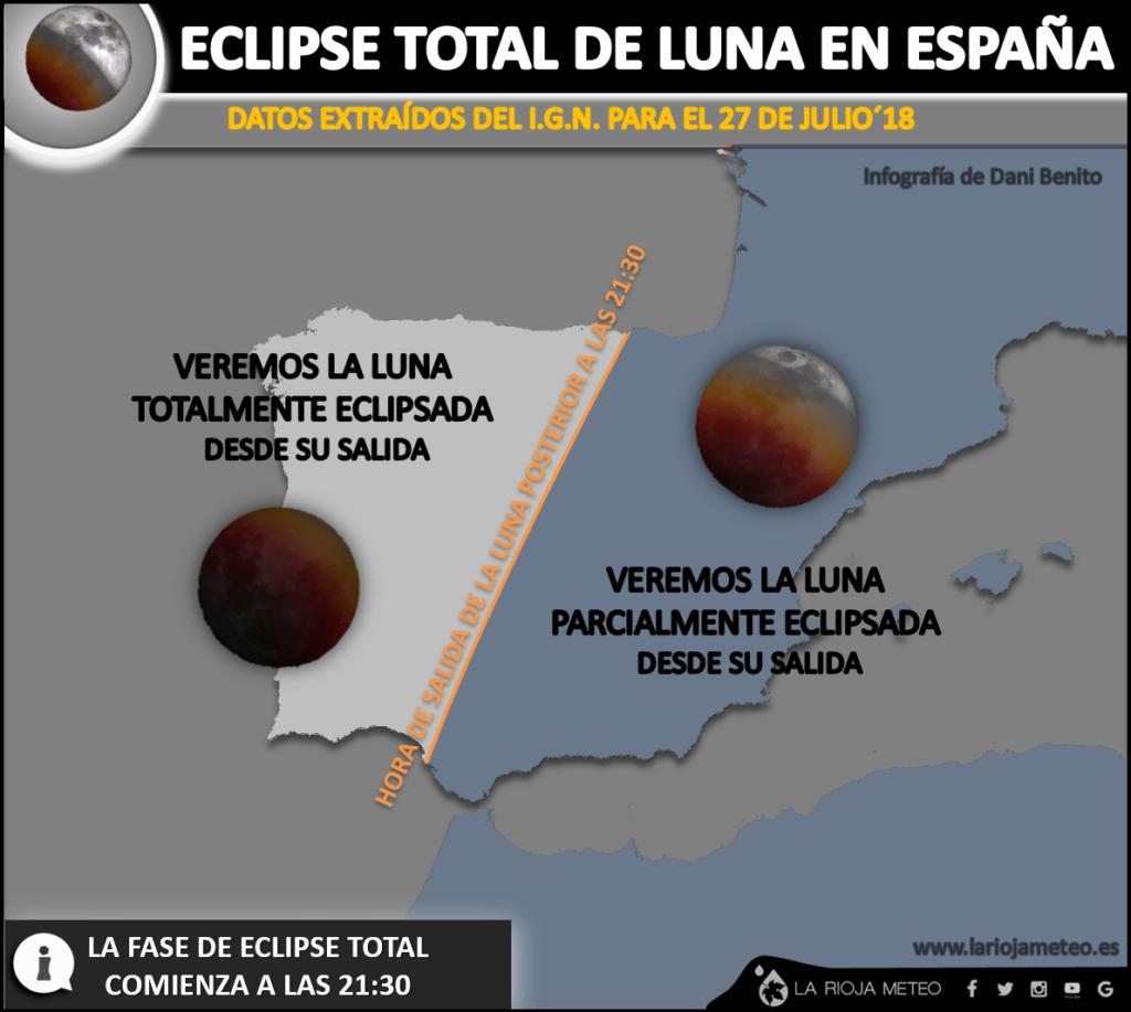Estado del eclipse de luna a su salida en la Península Ibérica y Baleares. Infografia: Dani Benito