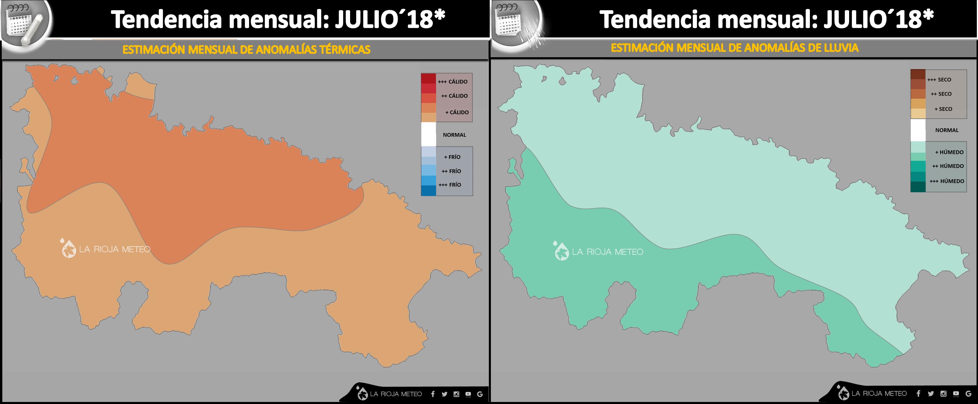Anomalías térmicas (izda) y pluviométricas (dcha) estimadas para el mes de Julio 2018 en La Rioja