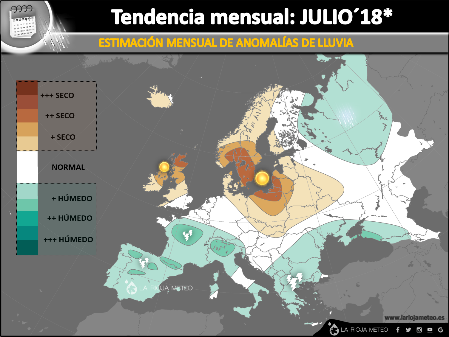 Estimación de las anomalías pluviométricas en Europa para el mes de Julio 2018