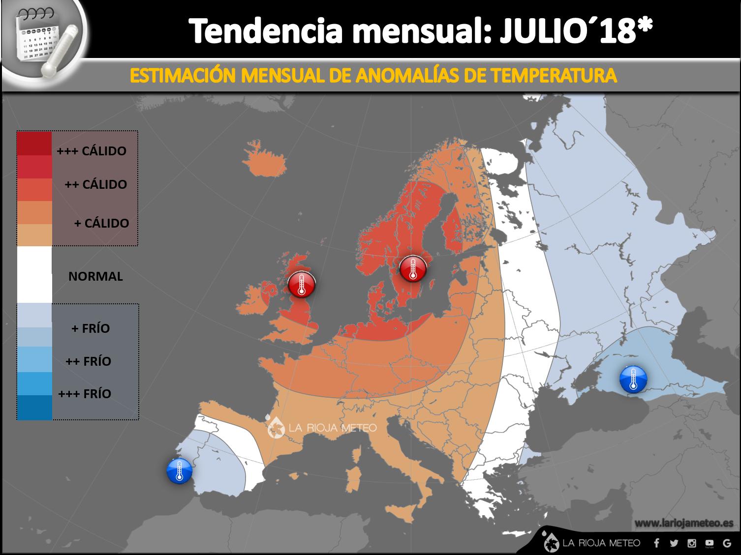 Estimación de las anomalías térmicas en Europa para el mes de Julio 2018
