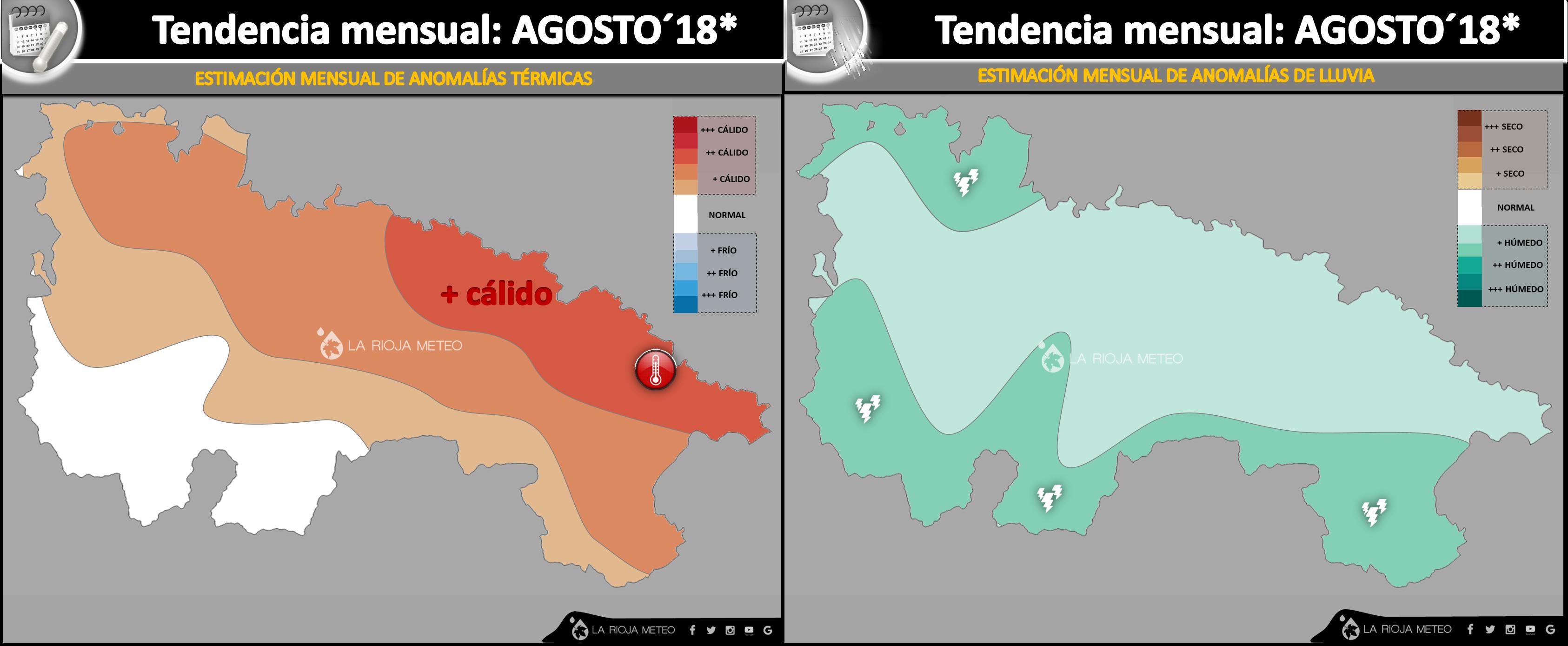 Estimación de anomalías térmicas y pluviométricas en La Rioja para el mes de Agosto de 2018. Ilustración: Dani Benito