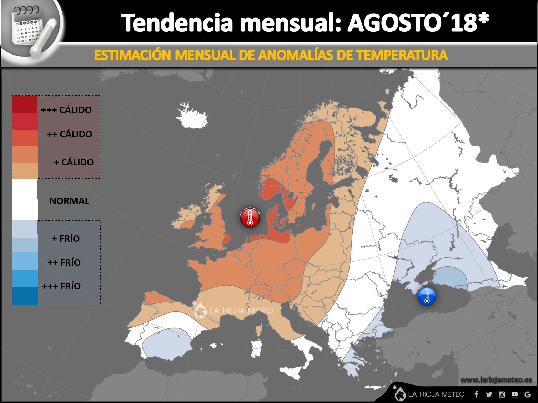 Estimación de anomalías térmicas para el mes de Agosto de 2018 en Europa. Ilustración: Dani Benito