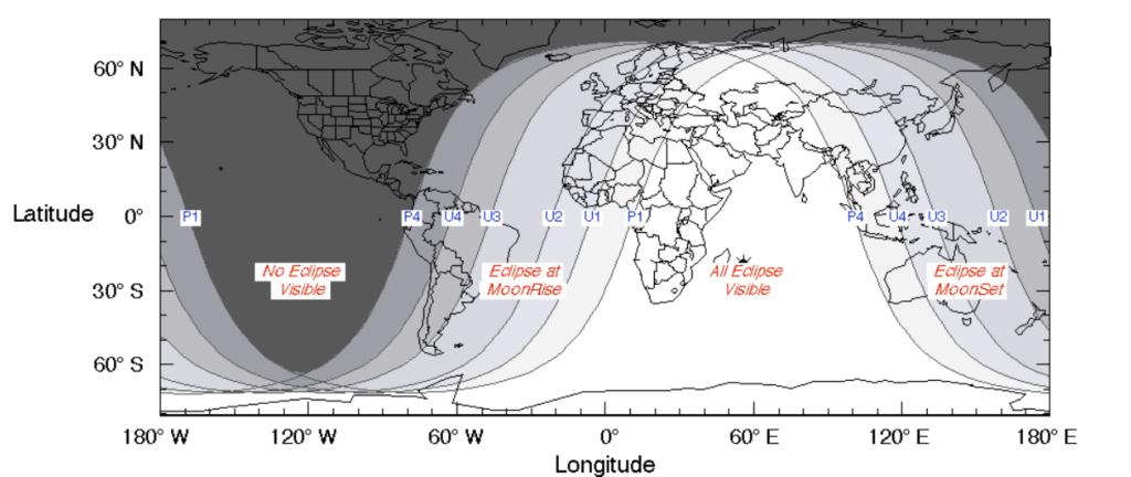 Vista mundial de la NASA de las fases del Eclipse de Luna del 27 de Julio´18