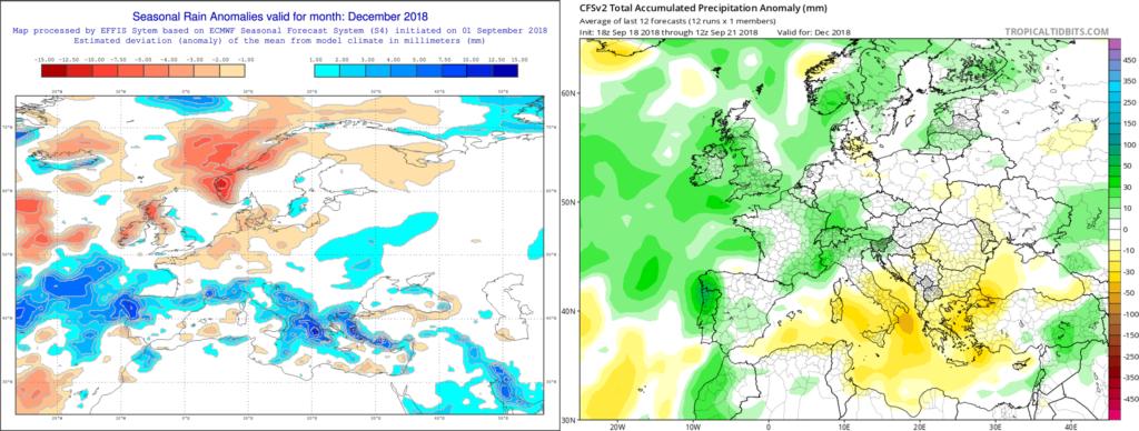 Estimación pluviométrica para el mes de Diciembre´18 por el modelo ECMWF (izda) y el CFS (dcha)