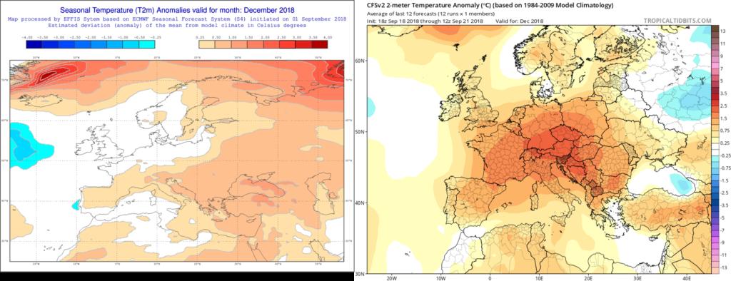 Estimación térmica para el mes de Diciembre´18 por el modelo ECMWF (izda) y el CFS (dcha)