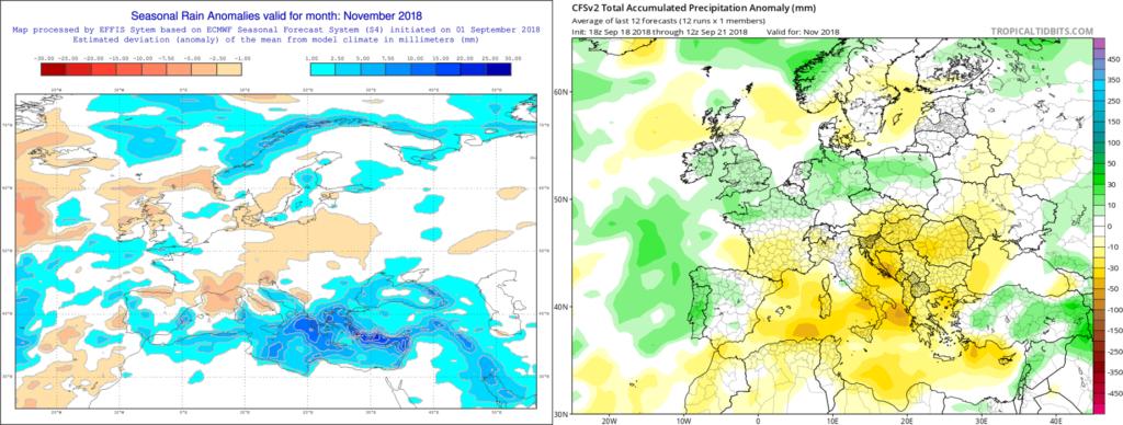 Estimación pluviométrica para el mes de Noviembre´18 por el modelo ECMWF (izda) y el CFS (dcha)