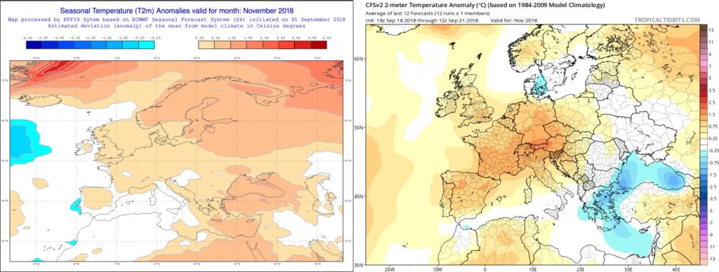 Estimación térmica para el mes de Noviembre´18 por el modelo ECMWF (izda) y el CFS (dcha)