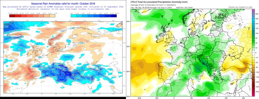 Estimación pluviométrica para el mes de Octubre´18 por el modelo ECMWF (izda) y el CFS (dcha)