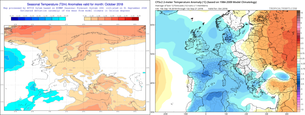 Estimación térmica para el mes de Octubre´18 por el modelo ECMWF (izda) y el CFS (dcha)