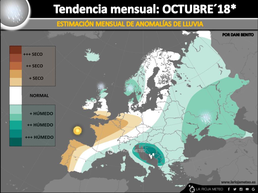 Estimación de anomalías pluviométricas durante Octubre 2018 en Europa. Ilustración: Dani Benito