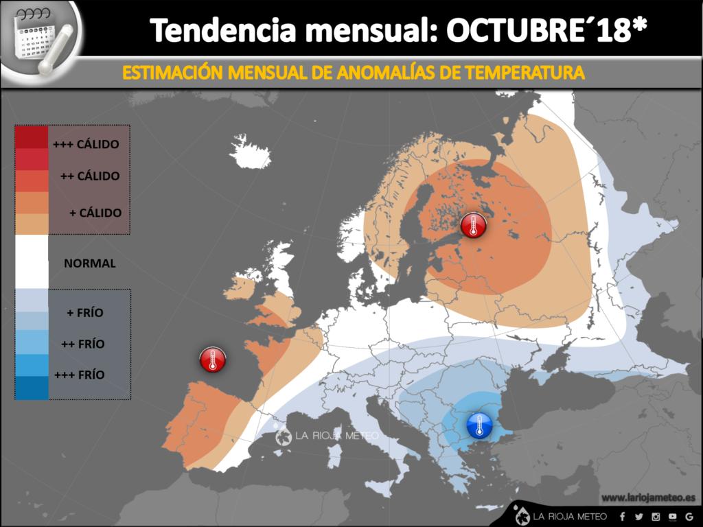 Estimación de las anomalías térmicas previstas para Octubre 2018 en Europa. Ilustración: Dani Benito