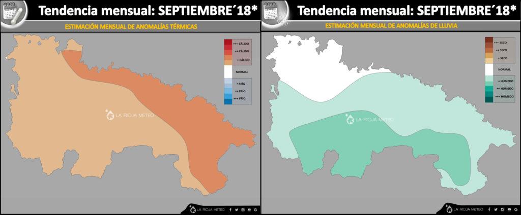 Estimación mensual climatologica para el mes de Septiembre 2018 en La Rioja. Ilustración: Dani Benito