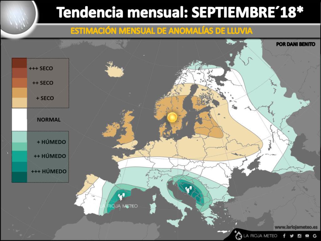 Estimación de anomalías de lluvia para el mes de Septiembre 2018 en Europa. Ilustración: Dani Benito