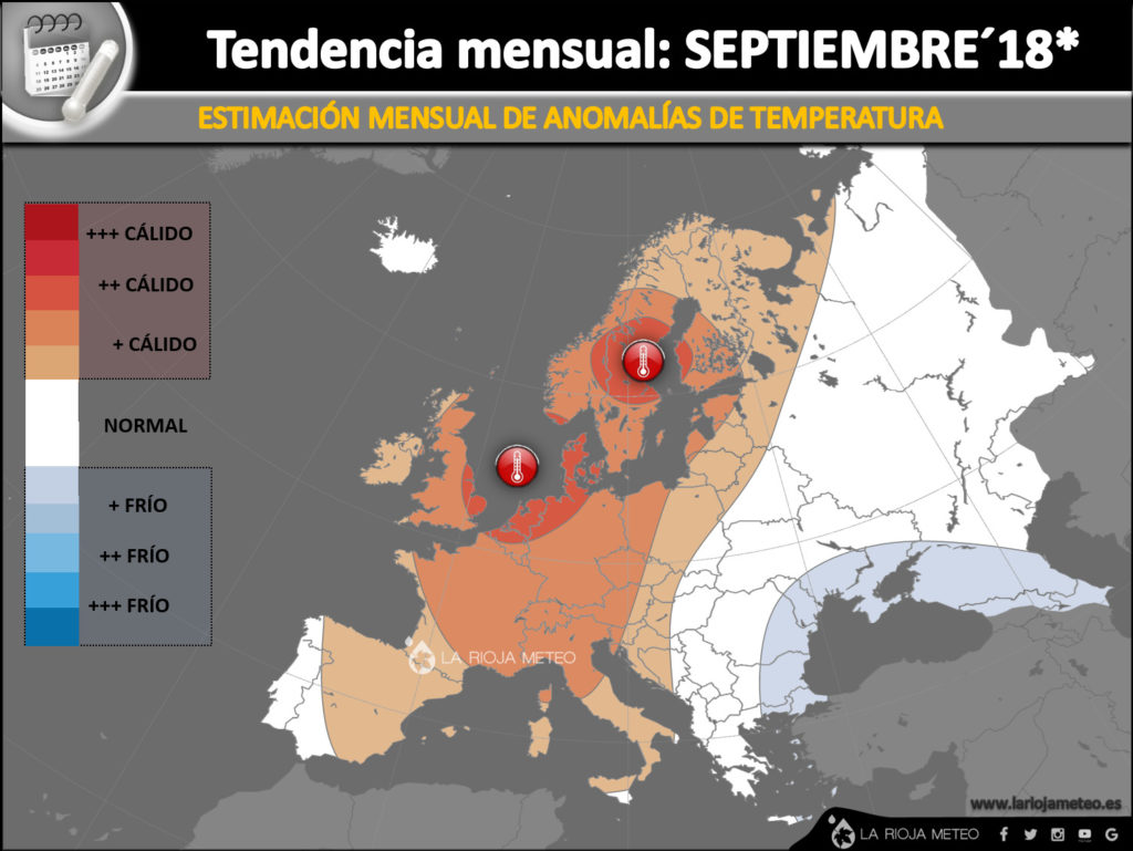 Estimación de anomalías térmicas para el mes de Septiembre 2018 en Europa. Ilustración: Dani Benito
