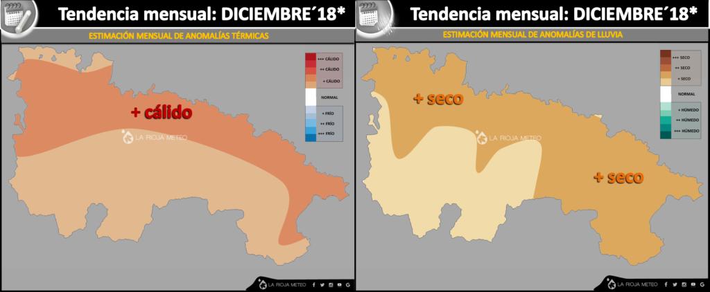 Estimación térmica y pluviométrica para La Rioja en Diciembre 2018. Ilustración: Dani Benito