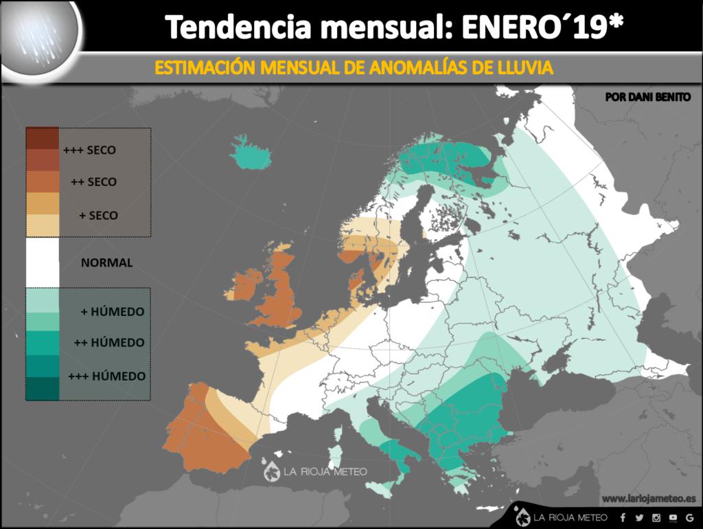 Estimación de las anomalías pluviométricas para Europa en Enero 2019