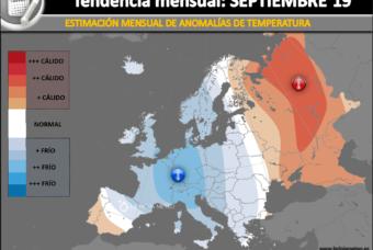 Estimación climatológica mensual para Septiembre 2019