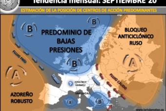 Estimación climatológica mensual para Septiembre 2020